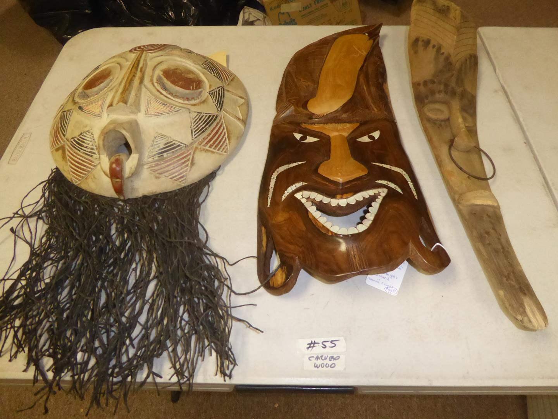 Lot # 55 - Royal Beaded Round Mask (Ghana), Vintage Wooden Mask (Kolombangara Island) & Carved African Palm Frond (main image)
