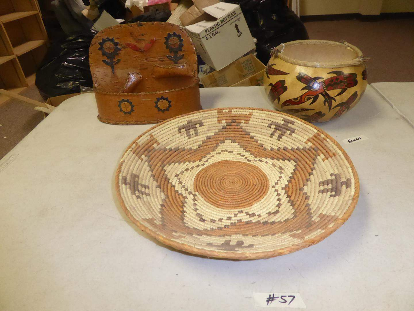 Lot # 57 - Vintage Native African Basket Tray, Birch Wood Basket & Signed Hand Painted Gourd (main image)
