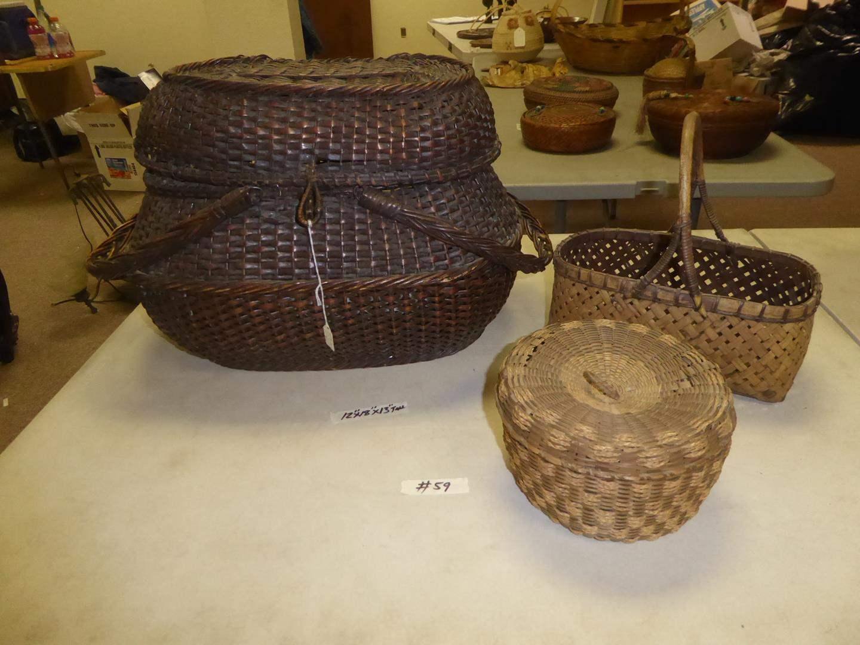 Lot # 59 - Old Lidded Basket, Carrying Basket & Smaller Lidded Basket (main image)