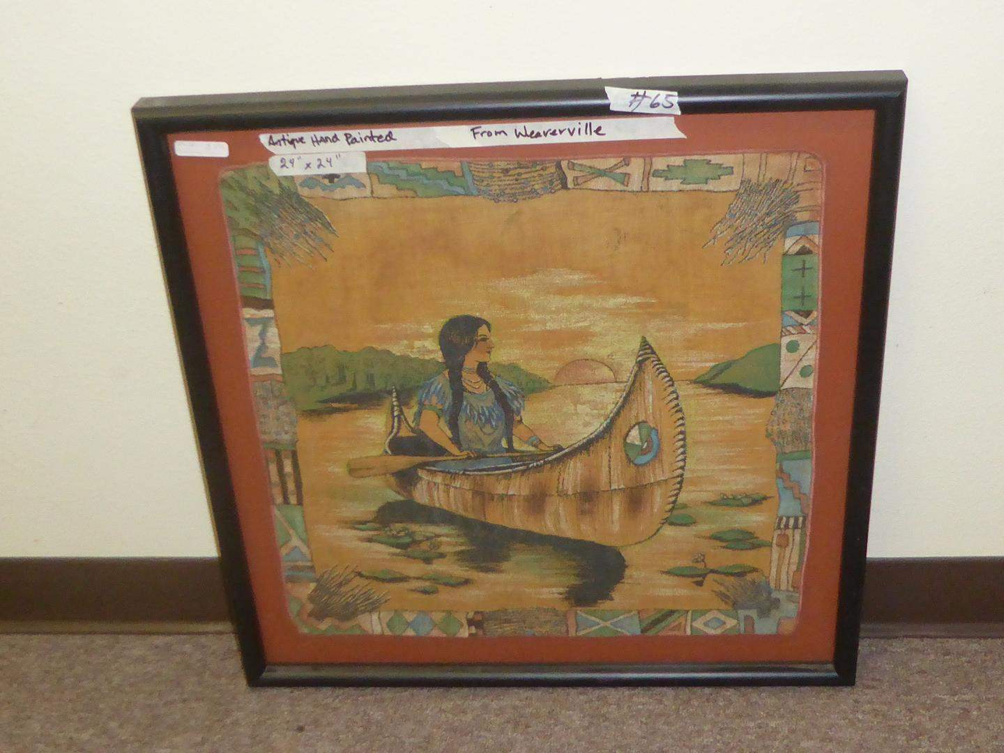 Lot # 65 - Framed Antique Indian Maiden in Canoe Hand Painted Fabric From Weaverville, Ca. (main image)