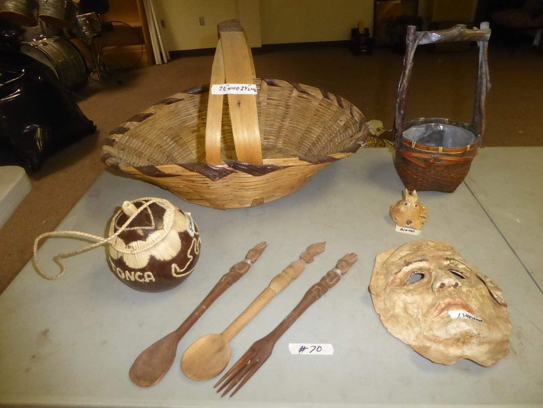 Lot # 70 - Vintage Leather Mask, Hand Carved Wooden Utensils, Lidded Tonka Gourd & Baskets (main image)