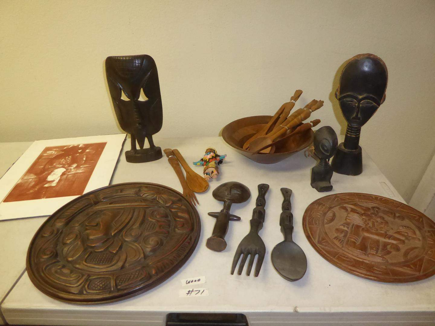 Lot # 71 - Honduras Carved Wood Wall Art, Signed Artist Proof, Hand Carved Wooden Sculptures, Carved Wood Utensils & Walnut Bowl (main image)