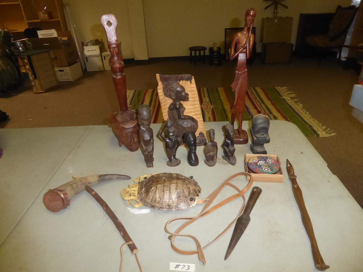 Lot # 73 - Primitive Weapons, Turtle Purse, Philippines & Taiwan Carved Wooden Sculptures (main image)