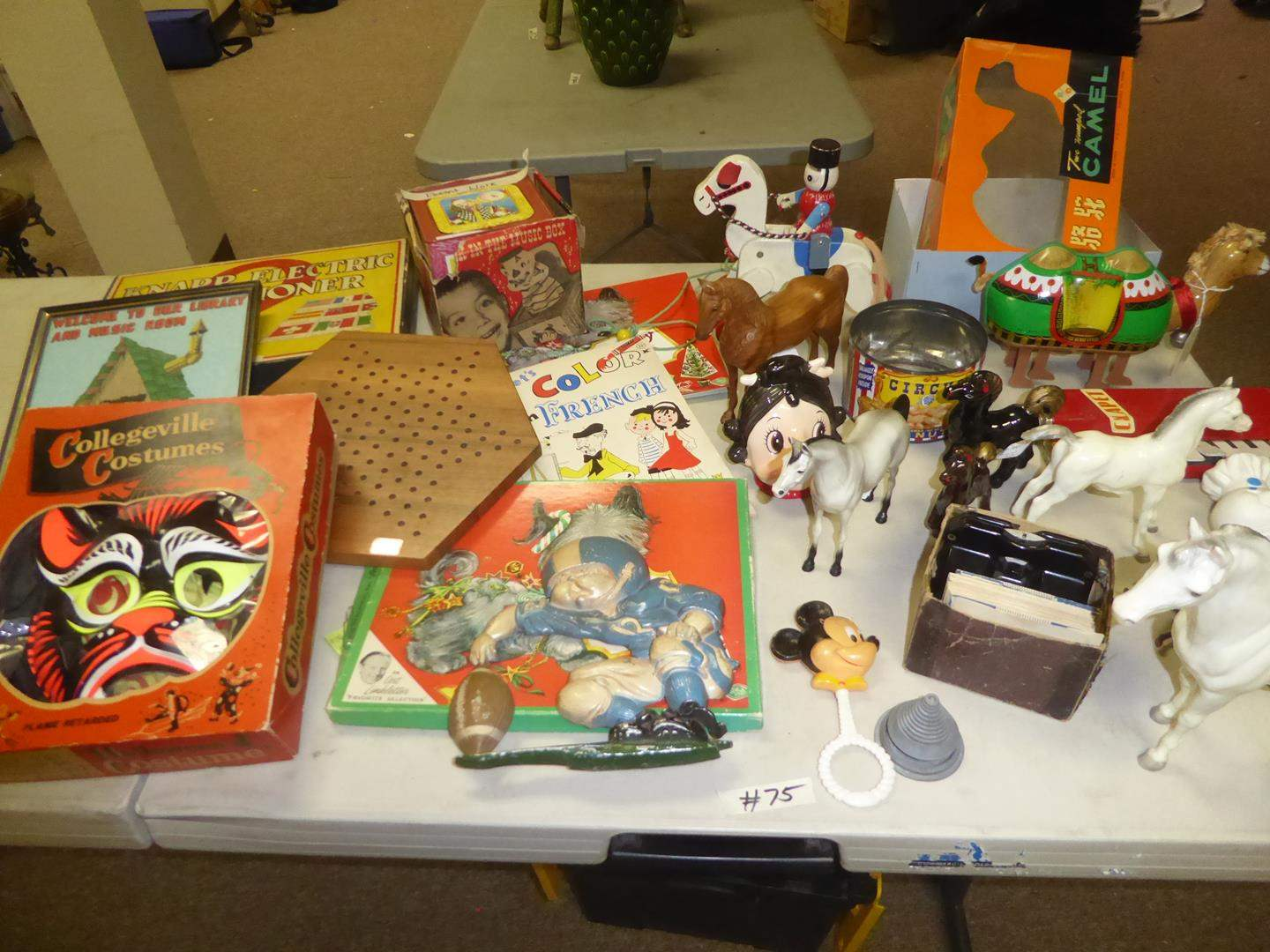 Lot # 75 - Vintage Childs Costume, Games, Jack in the Box, Breyer, Hartland & Other Horses, View Master, Tin Camel & More (main image)
