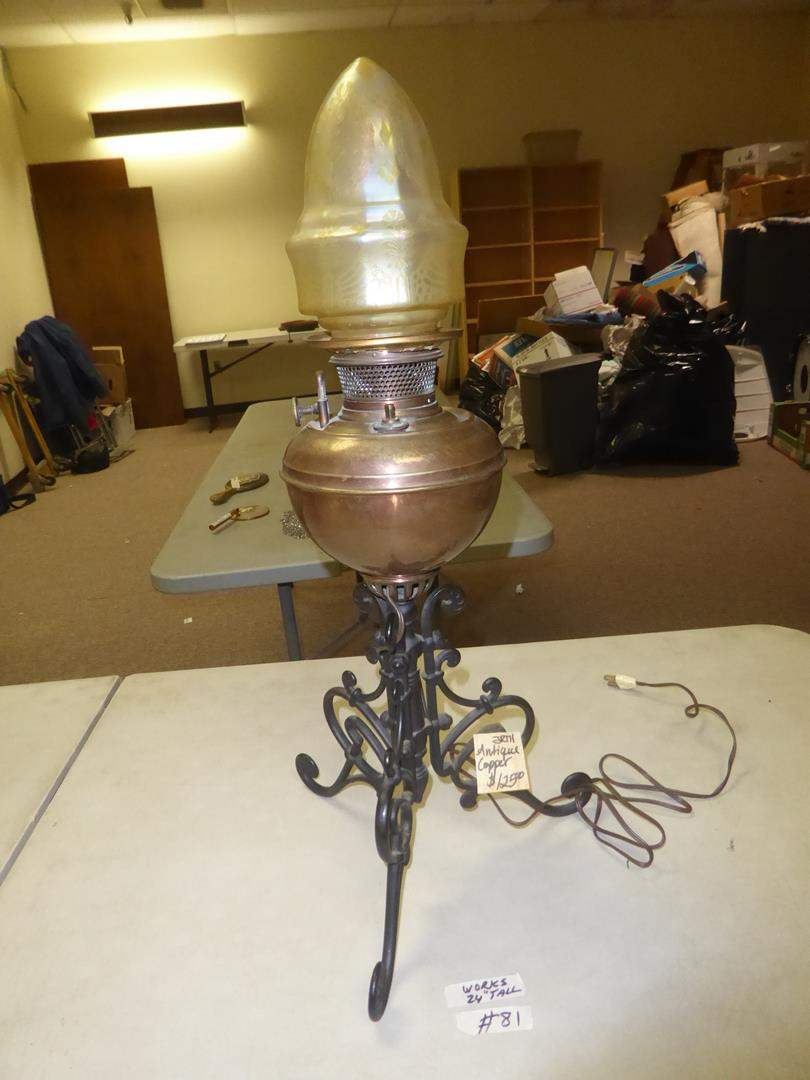 "Lot # 81 - Antique ""The B & H"" Copper Electrified Oil Lamp (main image)"