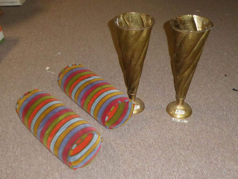 Lot # 84 - Pair Vintage Brass Urns & Pair 70's Bolster Pillows (main image)