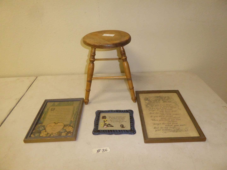 Lot # 86 - Old Wooden Stool & Framed Vintage Sayings (main image)