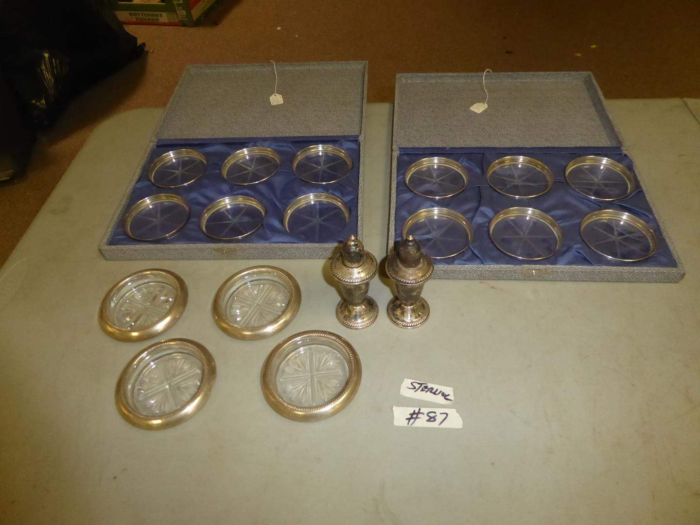 Lot # 87 - Sterling Silver Coasters & Weighted Sterling S&P Shakers (main image)