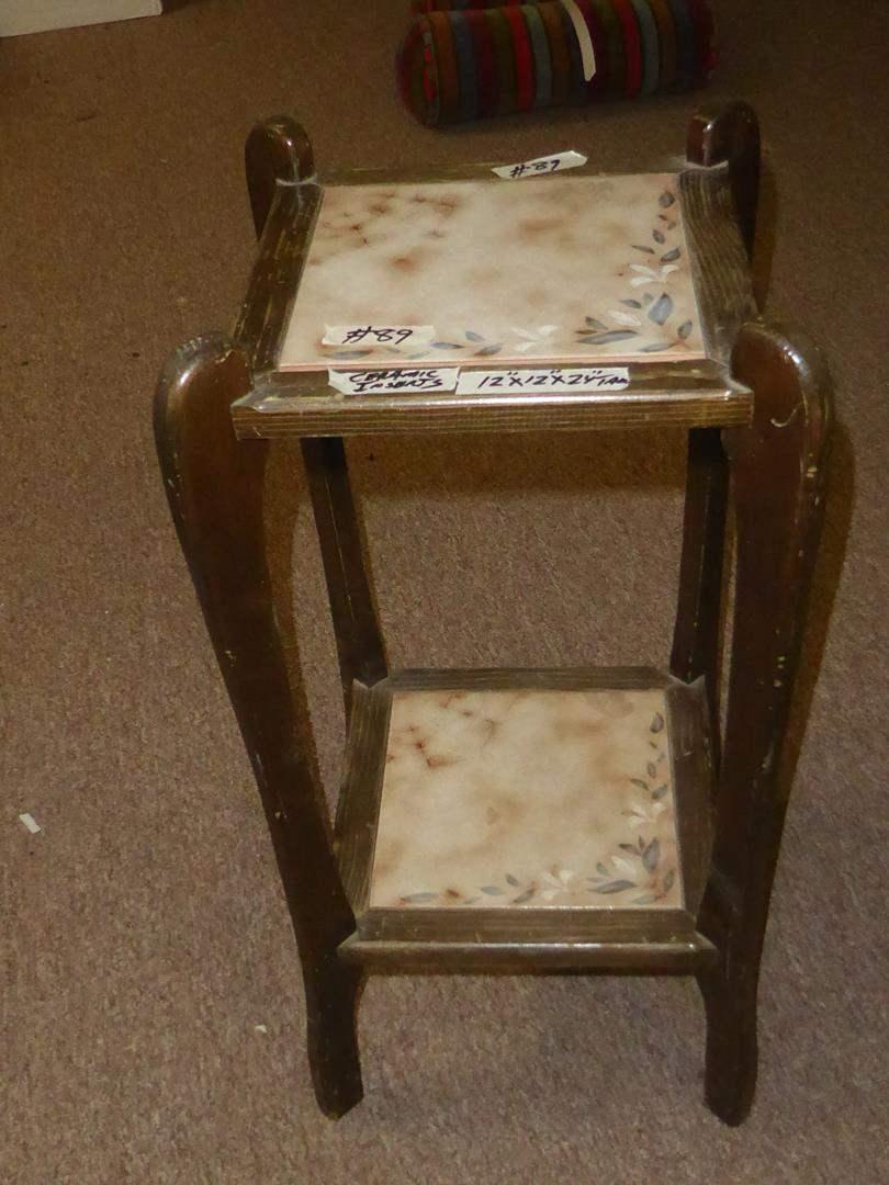 Lot # 89 - Vintage Tile Top Wood Framed Plant Stand (main image)