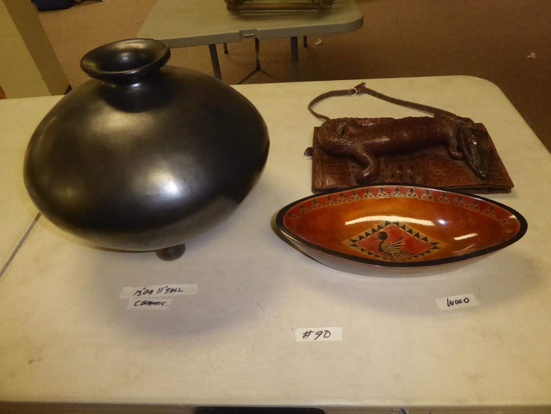 Lot # 90 - Vintage 3 Footed Ceramic Vase, Decorative Wood Serving Bowl & Alligator Purse (main image)