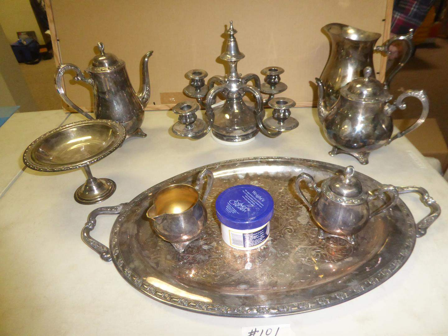 Lot # 101 - Vintage Silver Plate Serving Pieces & Antique Candelabra (main image)