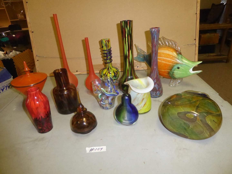 Lot # 104 - Vintage Art Glass Perfume Bottle, Vases, Candy Dish & Large Art Glass Fish  (main image)