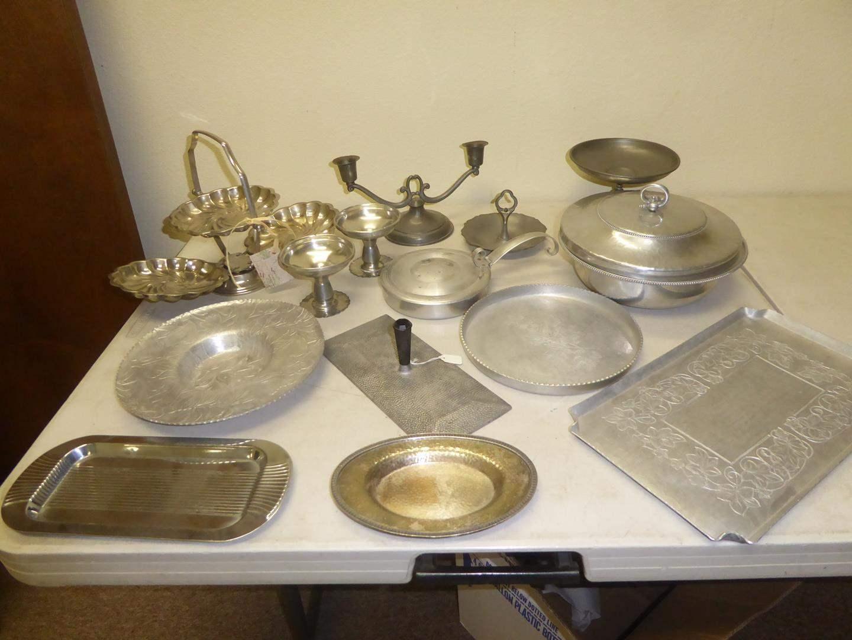 Lot # 106 - Vintage Aluminum & Silver Plate Serving Pieces (main image)