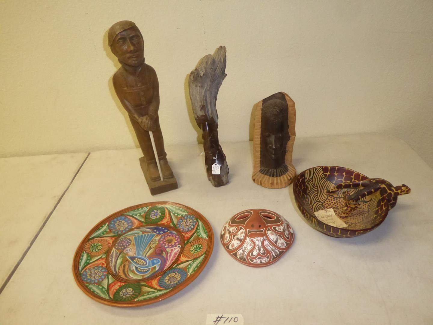 Lot # 110 - Man & Baby Wooden Sculpture, African Carving, Wood Giraffe Bowl, Painted Mexican Plate & Decorative Mask (main image)
