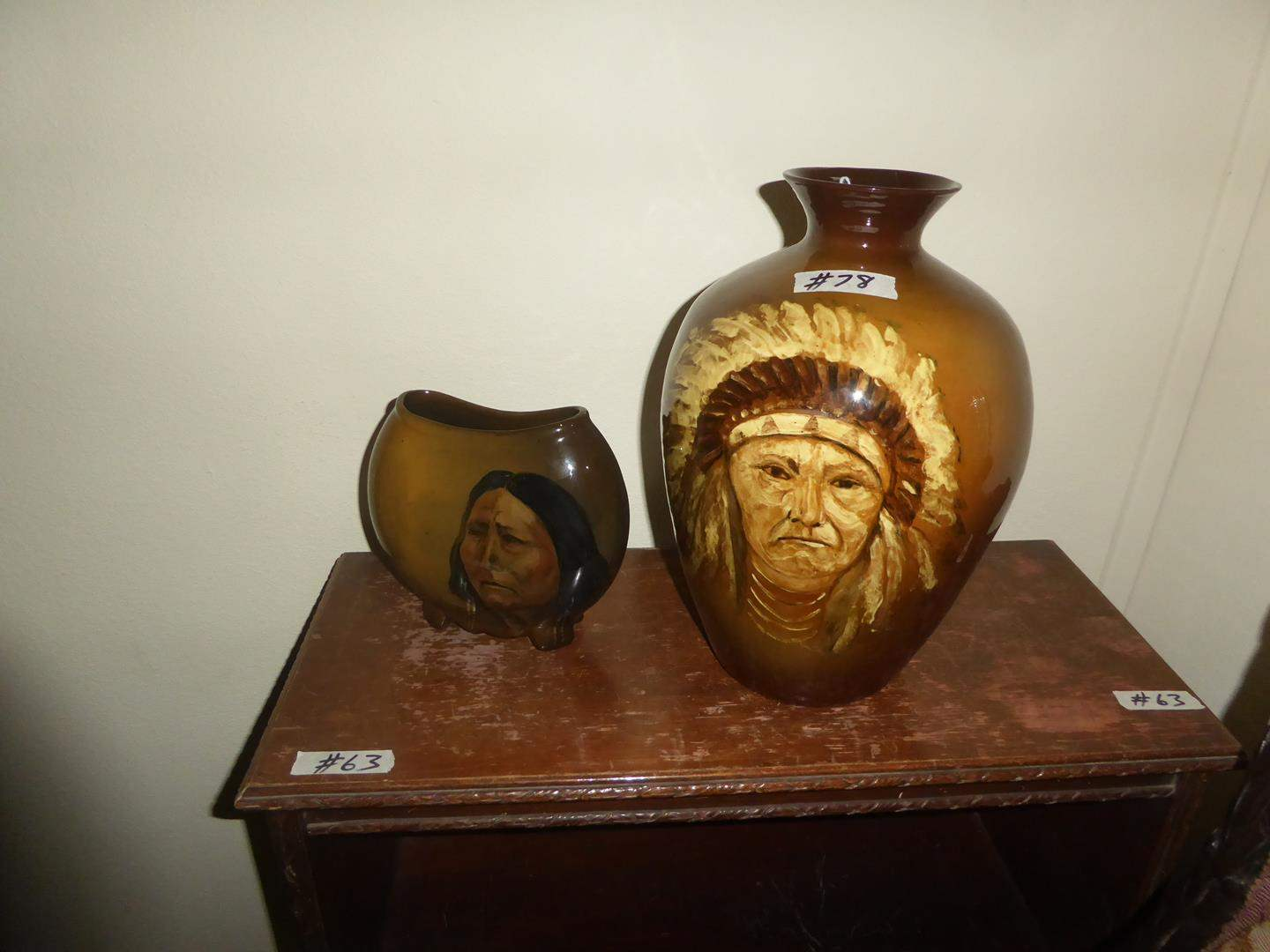 """Lot # 78 - Two Wonderful Rozart Pottery Native American Indian Vases """"Chief Joseph & Woman Heart"""" (main image)"""