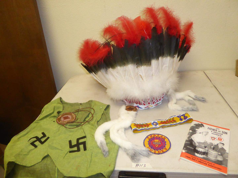 Lot # 113 - Native American Vest, Headband & Beaded Feather Headdress (main image)