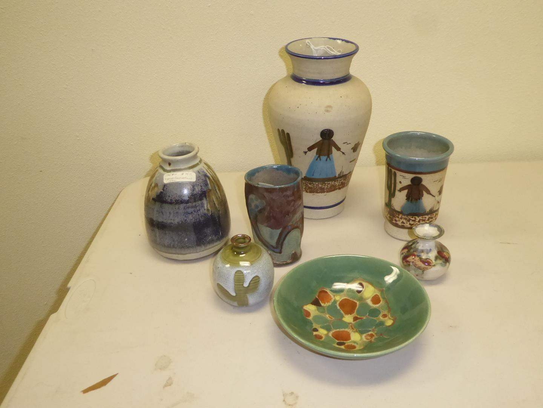 Lot # 119 - Madeline Originals Green Bowl & Pottery Vases - Some Signed (main image)