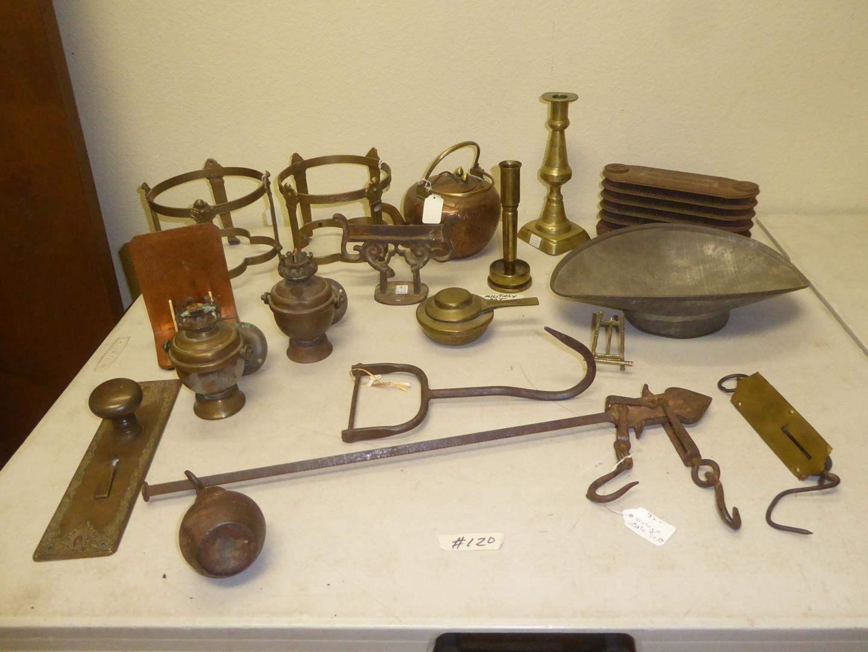 Lot # 120 - Antique Door Knob, Vintage Scales, Iron Radiator, Swiss Stove, Bronze Plant Stands & More (main image)