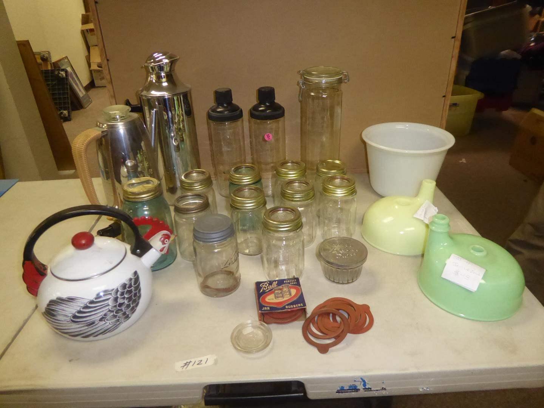 Lot # 121 - Vintage Canning Jars & Juicer Bowls (main image)