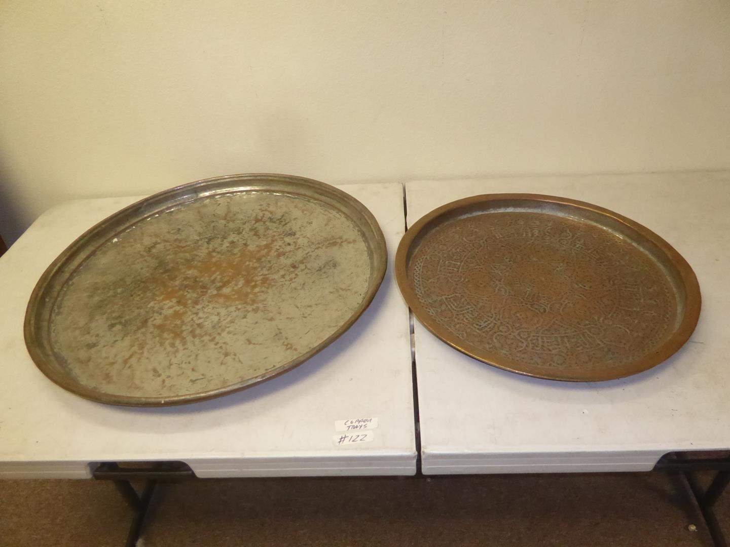 Lot # 122 - Two Large Vintage Copper Trays (main image)