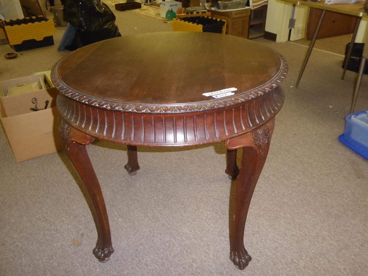 Lot # 123 - Vintage Wooden Round Claw Foot End Table (main image)