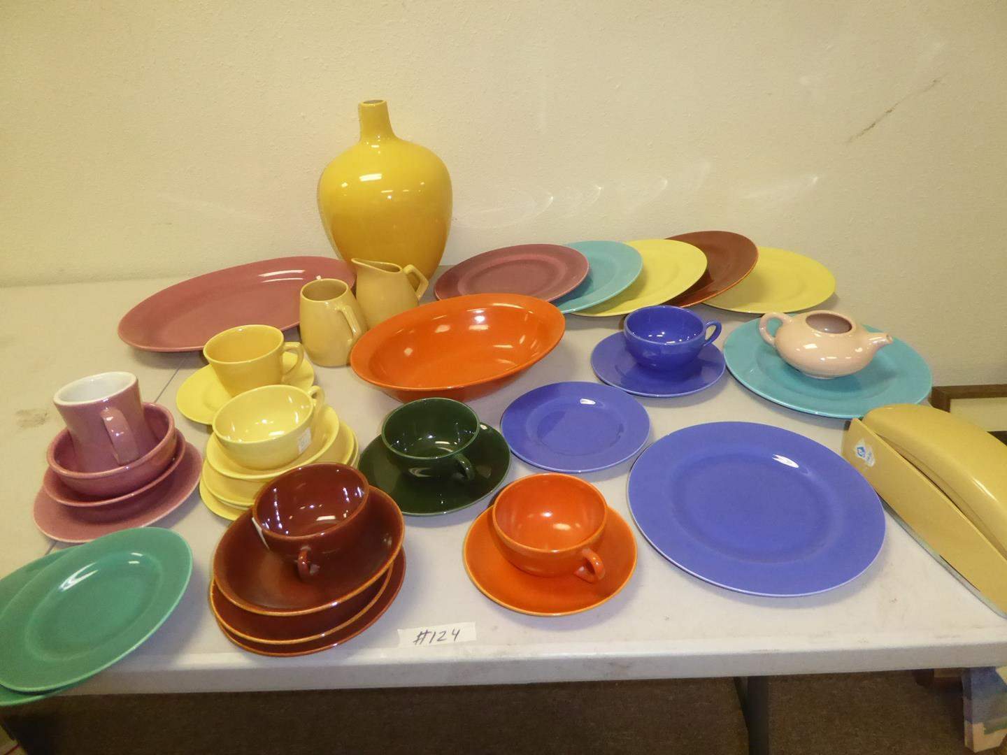 Lot # 124 - Vintage Colorful Poppy Trail Dishes (37 Pieces) & Push Button Phone (main image)