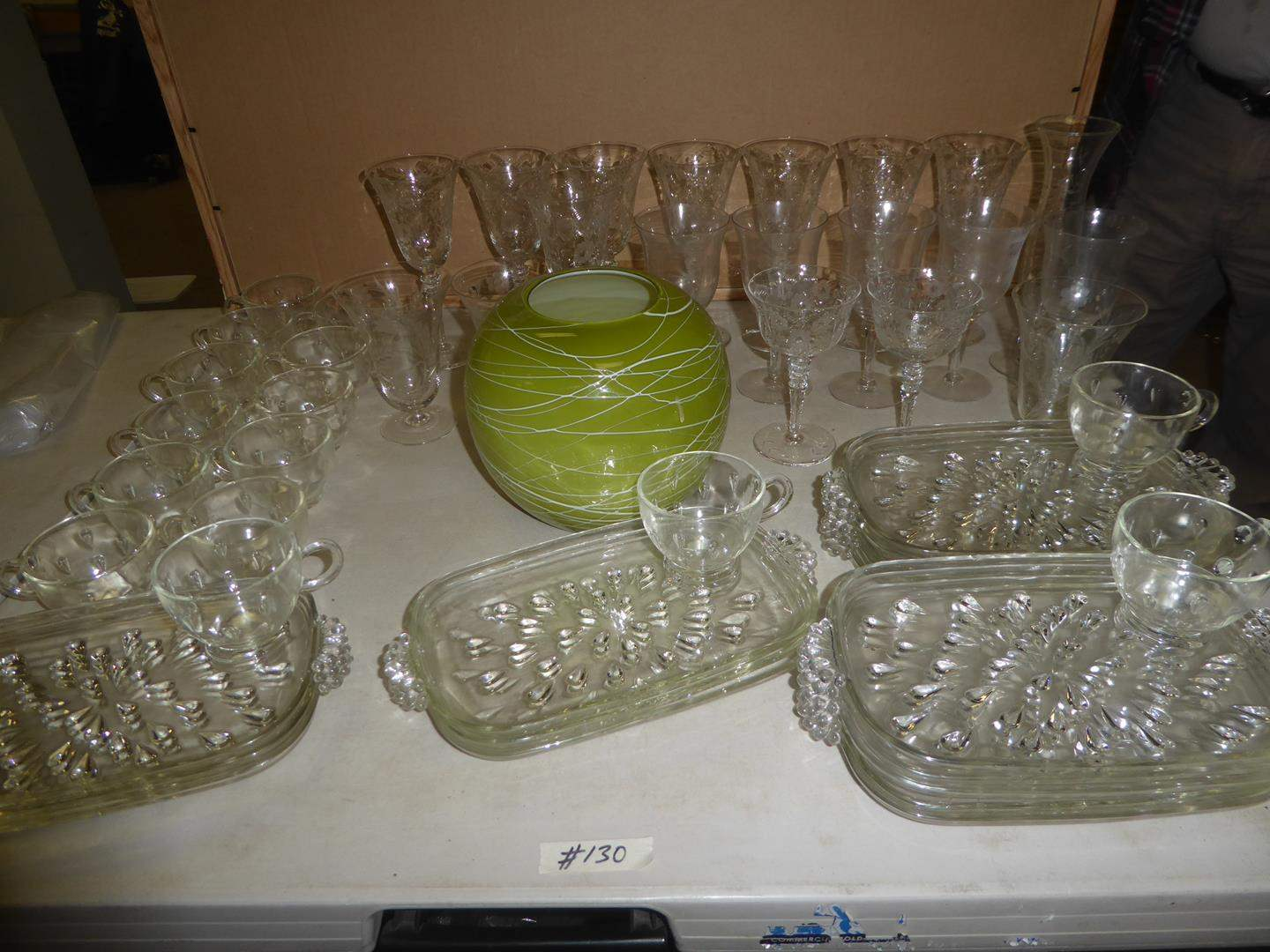 Lot # 130 - Vintage Glass Snack Trays w/Cups, Beautiful Etched Stemware & Apple Glass Vase (main image)