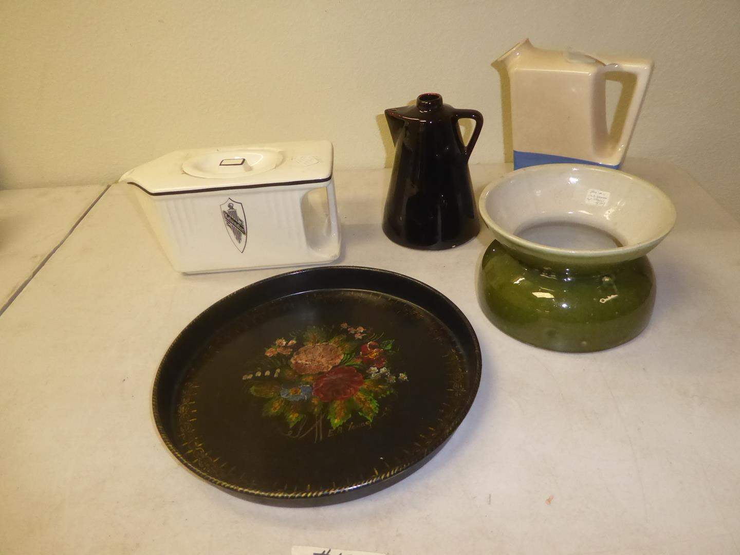 Lot # 131 - Vintage Hand Painted by E.A. Young Tray, Kelvinator Milk Box, Syrup Pitcher, Jug & Old Spittoon (main image)