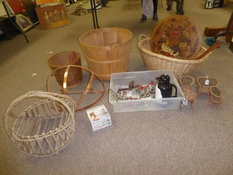 Lot # 133 - Primitive Wooden Basket, Copper Pots & Pans Holder, Misc. Flatware, Wicker Doll Furniture & More (main image)