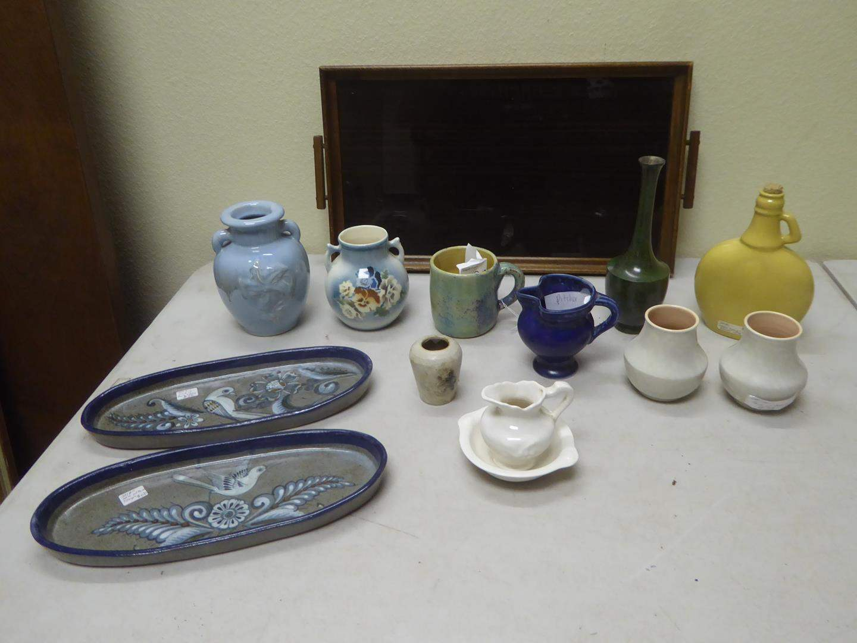 Lot # 135 - Pair Pottery Bird Design Serving Dishes, Japan Vase, Czechoslovakia Vase, Cream Pitcher, Mug, Syrup Jug & More (main image)