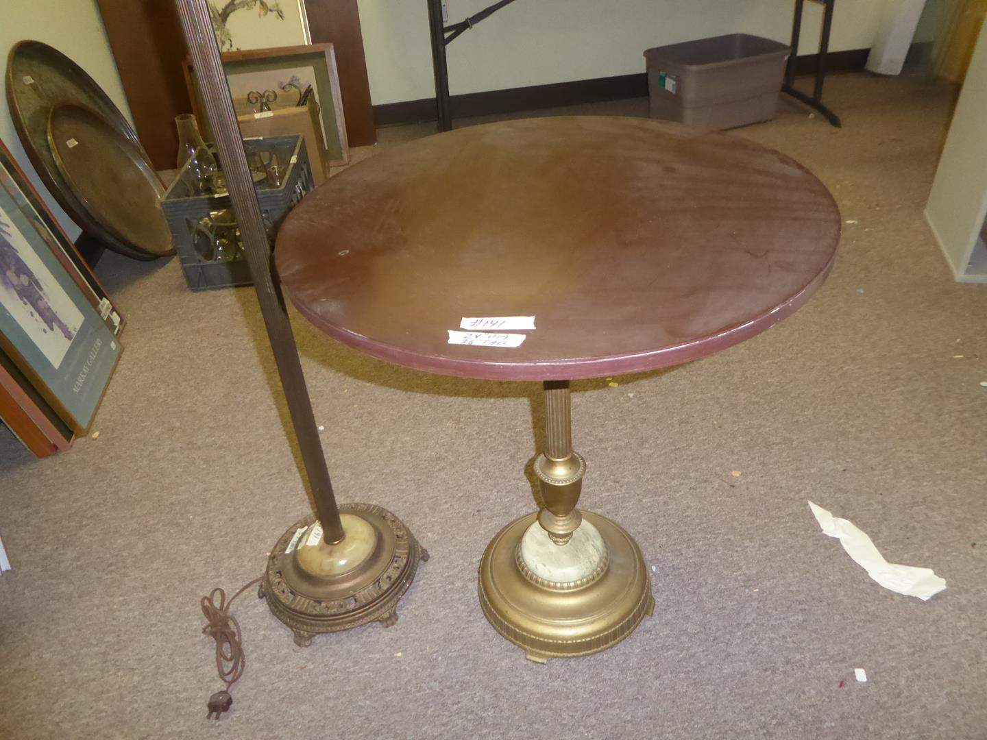 Lot # 141 - Vintage Floor Lamp & Round Accent Table Made from Floor Lamp Base (main image)
