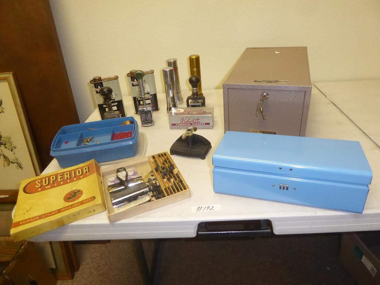 Lot # 142 - Leather Tools, Vintage Numbering Machines, Flashlights, Lock Box & Metal Box (main image)