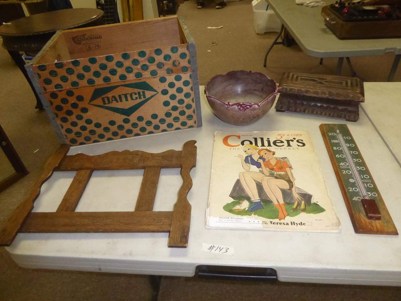 Lot # 143 - Vintage Daitch Wooden Crate, Antique Victorian Bowl, Primitive Treasure Box & Thermometer (main image)