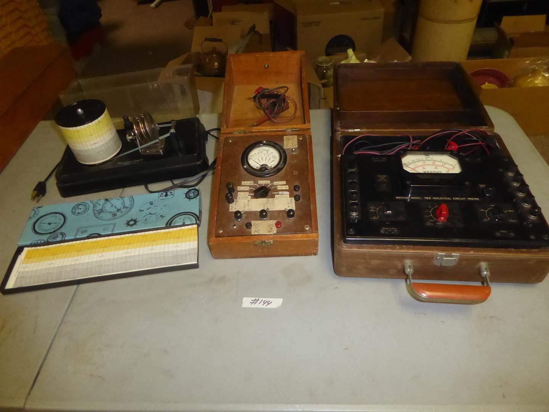 Lot # 144 - Vintage Taylor Instruments Barometer, Charts & Meter Testers (main image)