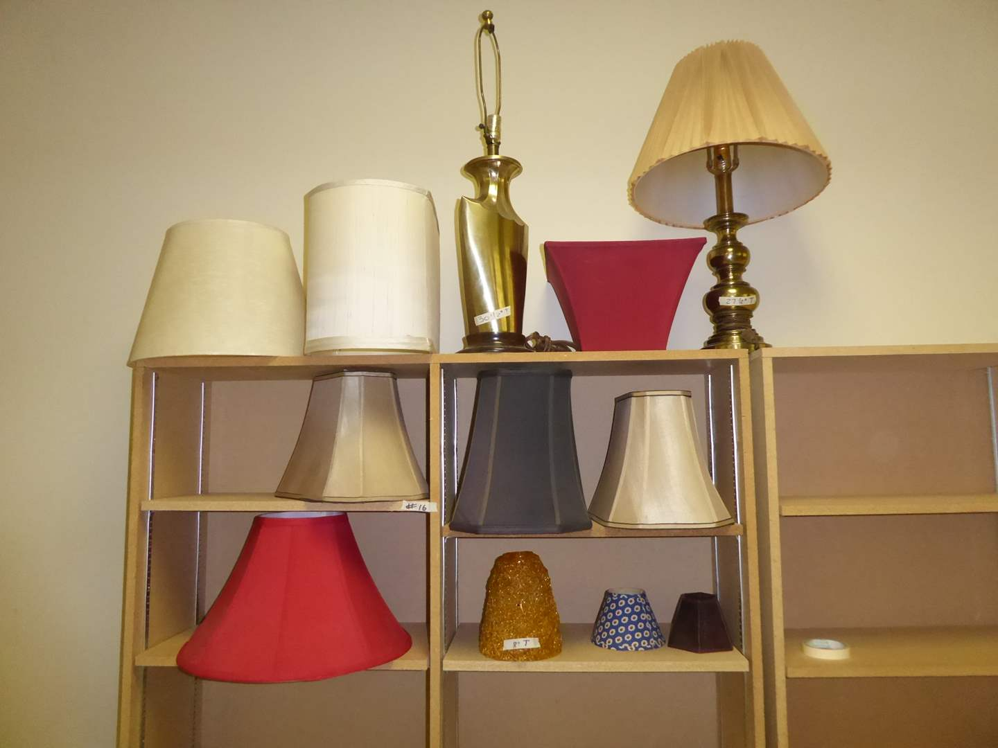 Lot # 16 - Two Brass Lamps & Miscellaneous Lamp Shades  (main image)