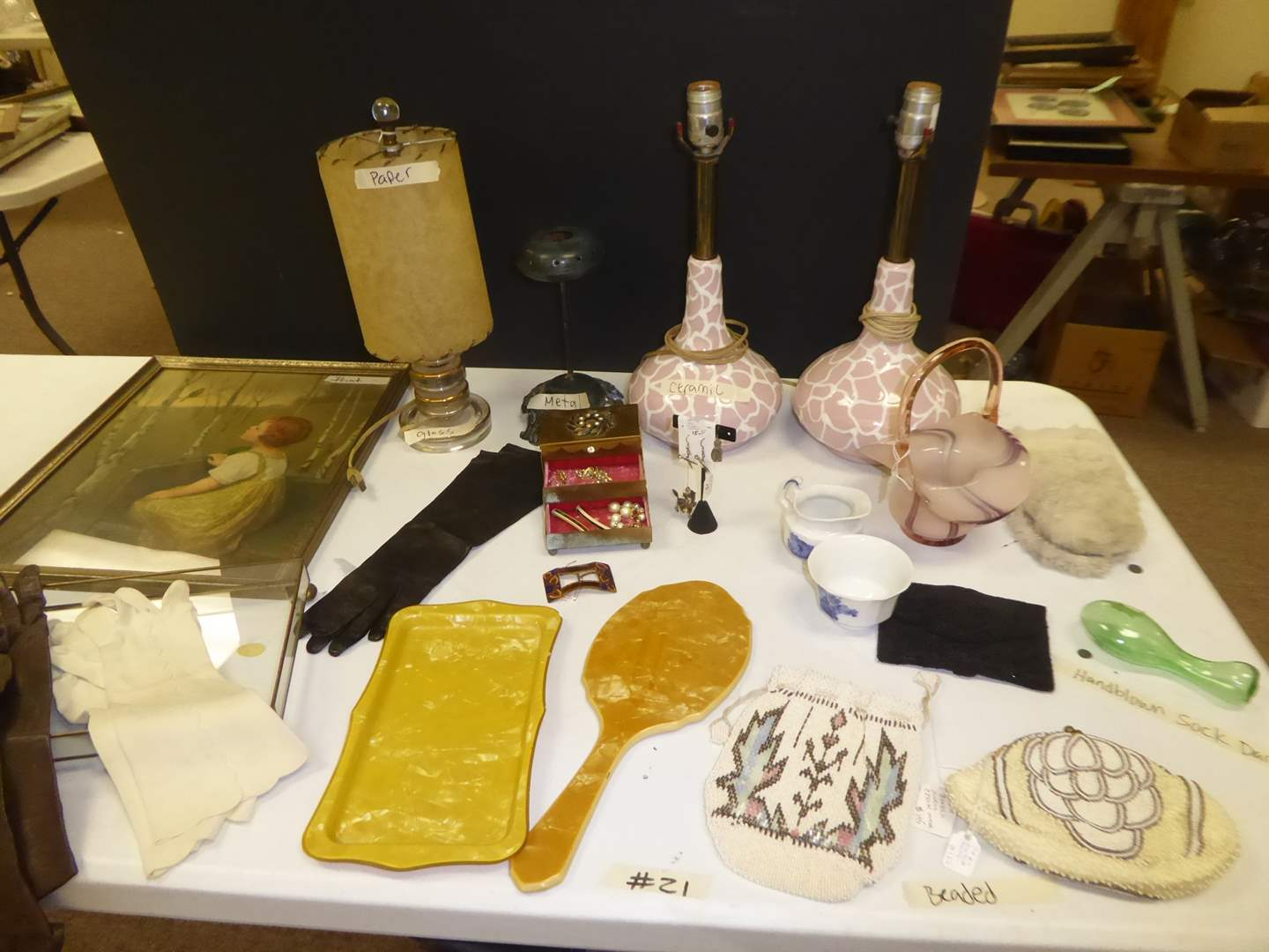 Lot # 21 - Ceramic Lamps, Vintage Beaded Purses & Costume Jewelry  (main image)