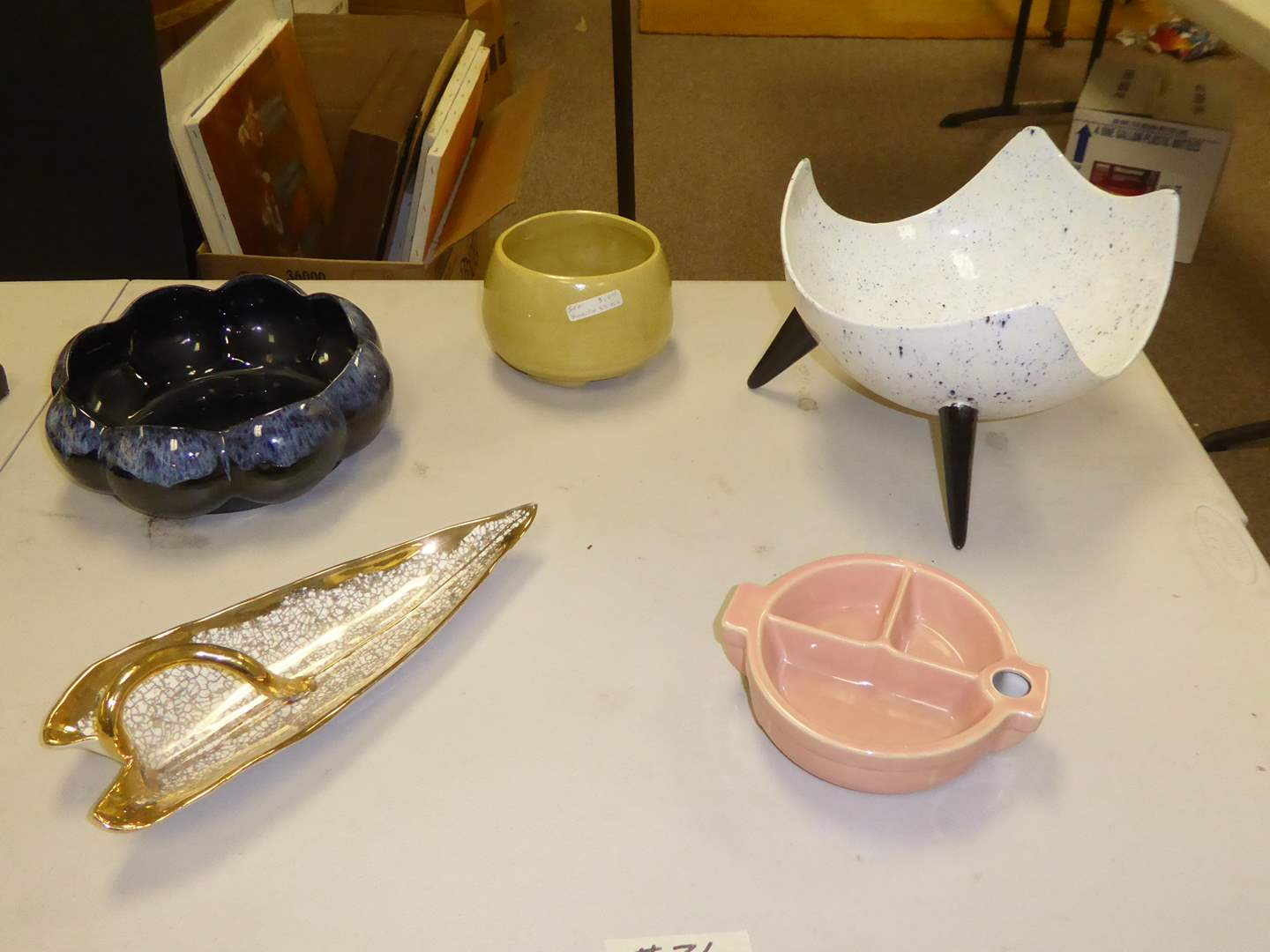 Lot # 26 - Speckled Atomic Pedestal Bowl & Other Mid Century Pottery  (main image)
