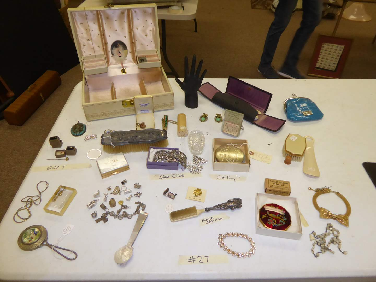 Lot # 27 - Gold Baby Rings, Vintage Grooming Tools, Sterling Compact & More  (main image)