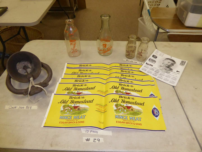 Lot # 29 - Vintage Milk Bottles (McColl's Redding & Land O Gold) McColl's Calendar, Cast Iron Bell & Labels  (main image)
