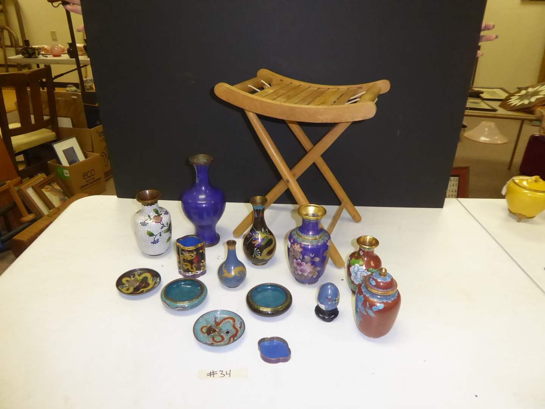 Lot # 34 - Vintage Cloisonné Enameled Bowls & Vases & Folding Wooden Stool  (main image)