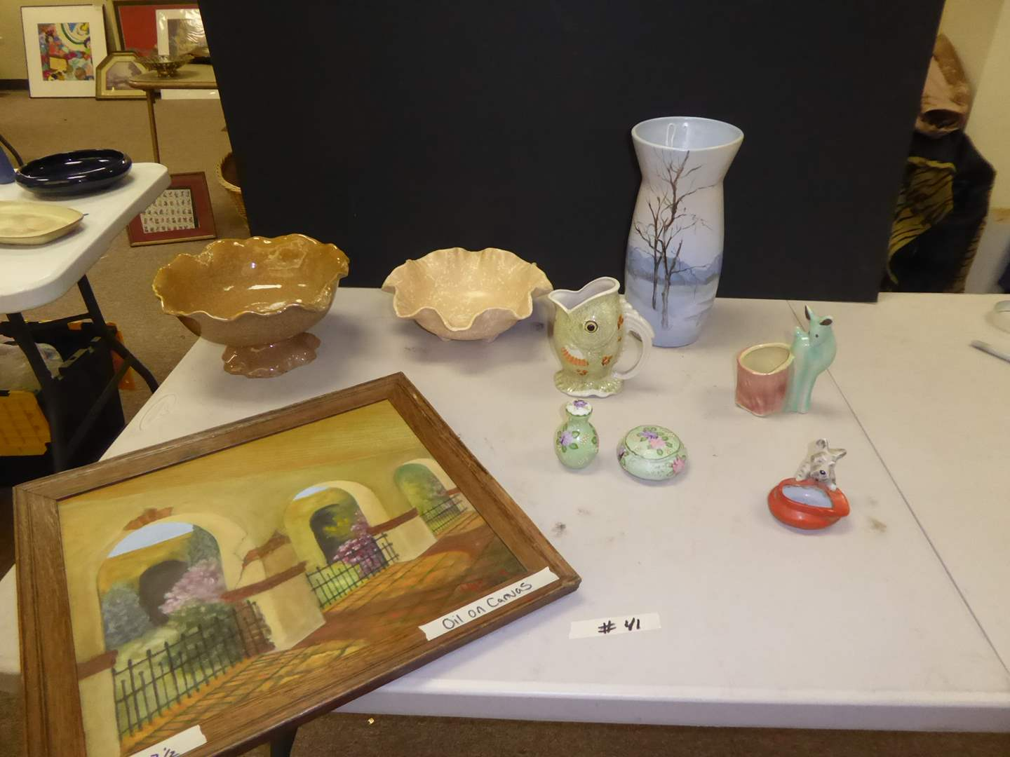 Lot # 41 - Framed Oil On Canvas, Shawnee Bowl, Rozart Scenic Pottery Vase & More (main image)