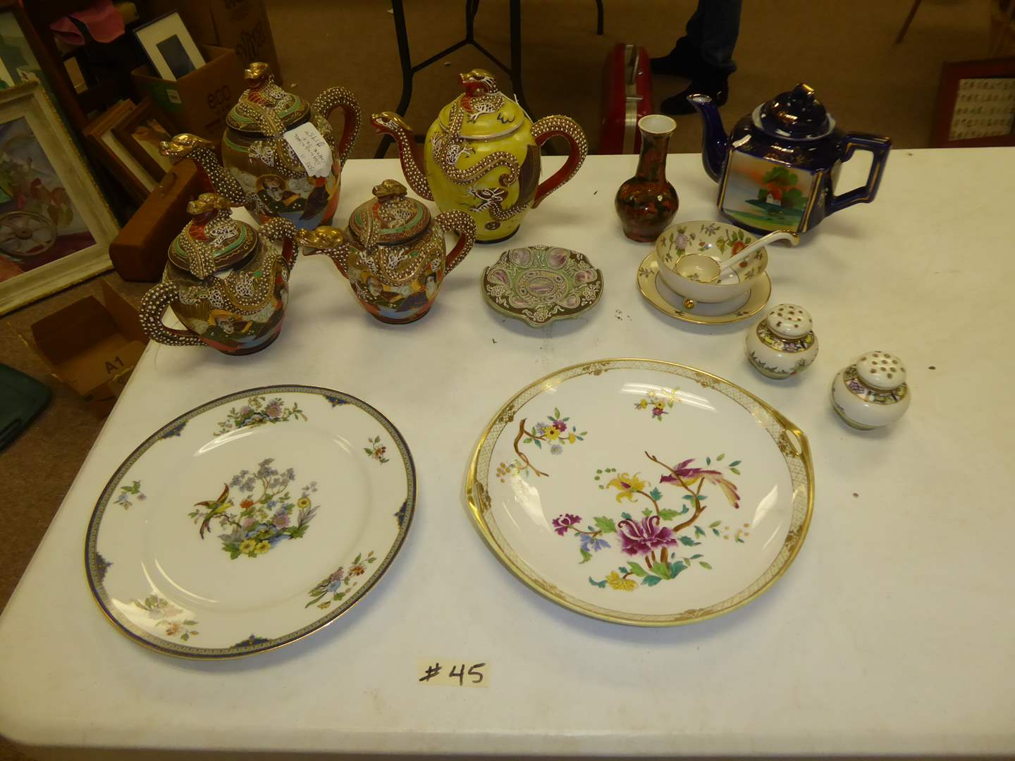 Lot # 45 - Dragonware Tea Pots, Antique Moriage Plate & Other Vintage China  (main image)