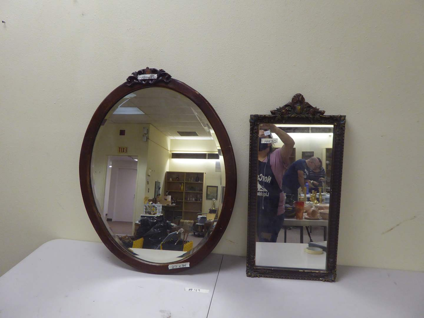 Lot # 49 - Two Vintage Wooden Wall Mirrors  (main image)