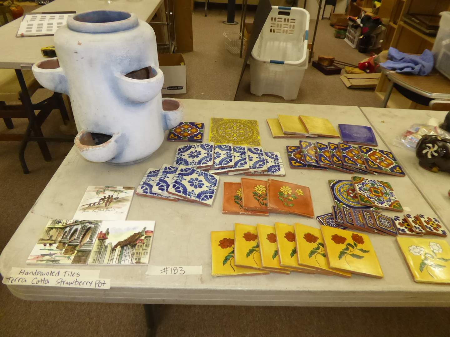 Lot # 183 - Hand Painted Tiles & Terra Cotta Strawberry Pot  (main image)