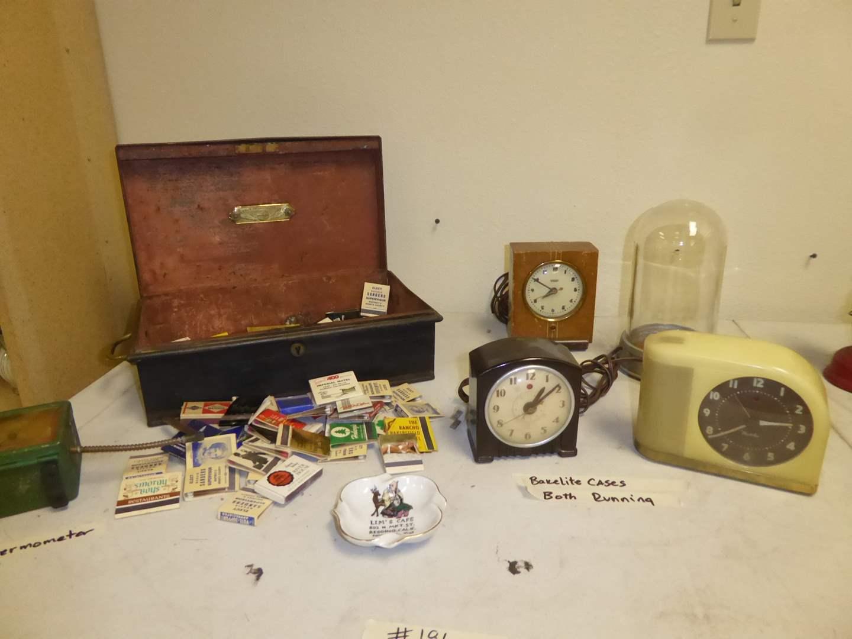 Lot # 186 - Two Bakelite Clocks, Matchbooks, Lim's Cafe Ashtray & More  (main image)