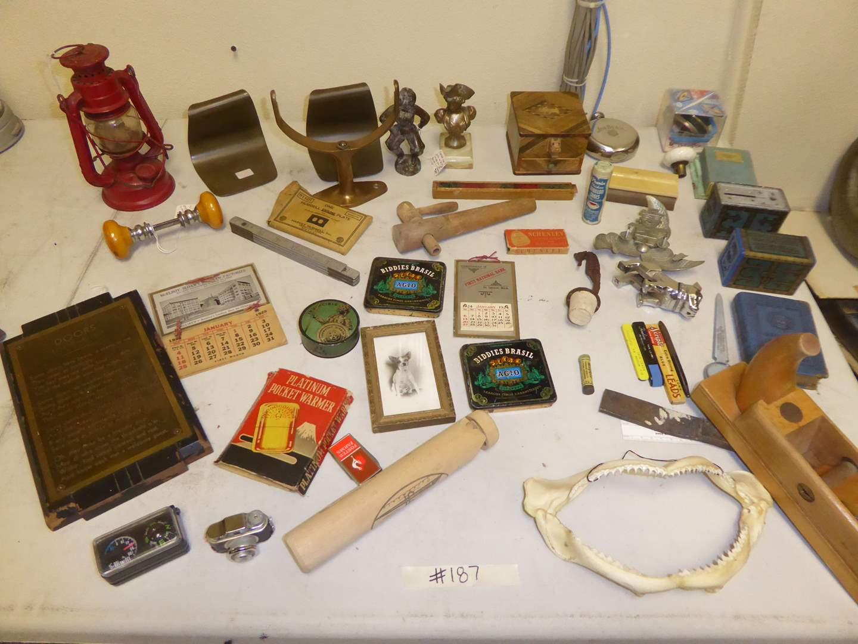 Lot # 187 - Brass Bookends, Vintage Bakelite Door Knob, Diplomat Spy Camera & Other Collectibles  (main image)