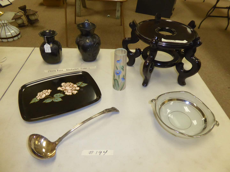 "Lot # 194 - ""Dona Rosa"" Blackware Pottery, Couroc Tray & Hand-painted Glass Vase  (main image)"