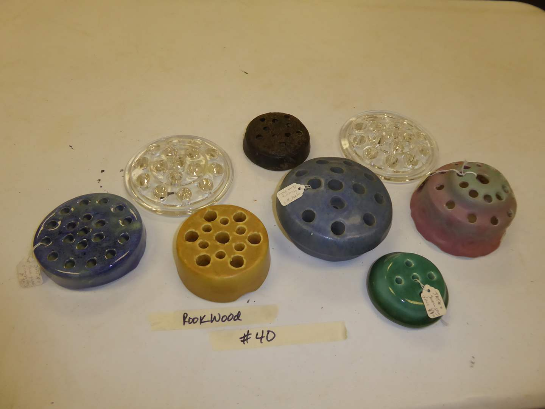 Lot # 40 - Vintage Glass & Ceramic Flower Frogs  (main image)
