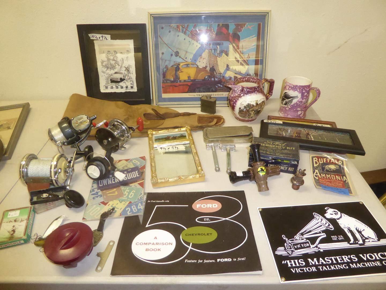 Lot # 148 - Vintage Red Bakelite Box, Fishing Lures, Reels, Ford Emergency Kit, Razors, Prints & More (main image)