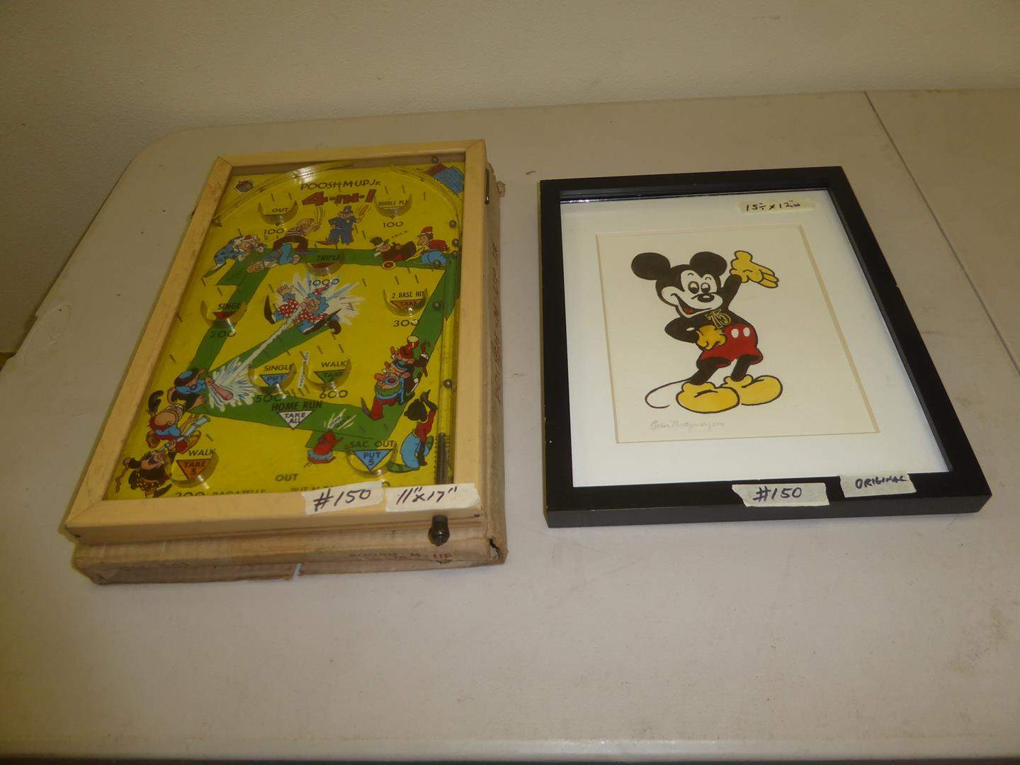 Lot # 150 - Vintage 'Poosh-M-Up Jr.' Pinball Game & Framed Mickey Mouse by Local Artist Esther Montgomery (main image)